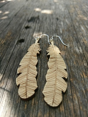 Feather Lasercut Hoop Pine Plywood Dangle and Drop Earrings