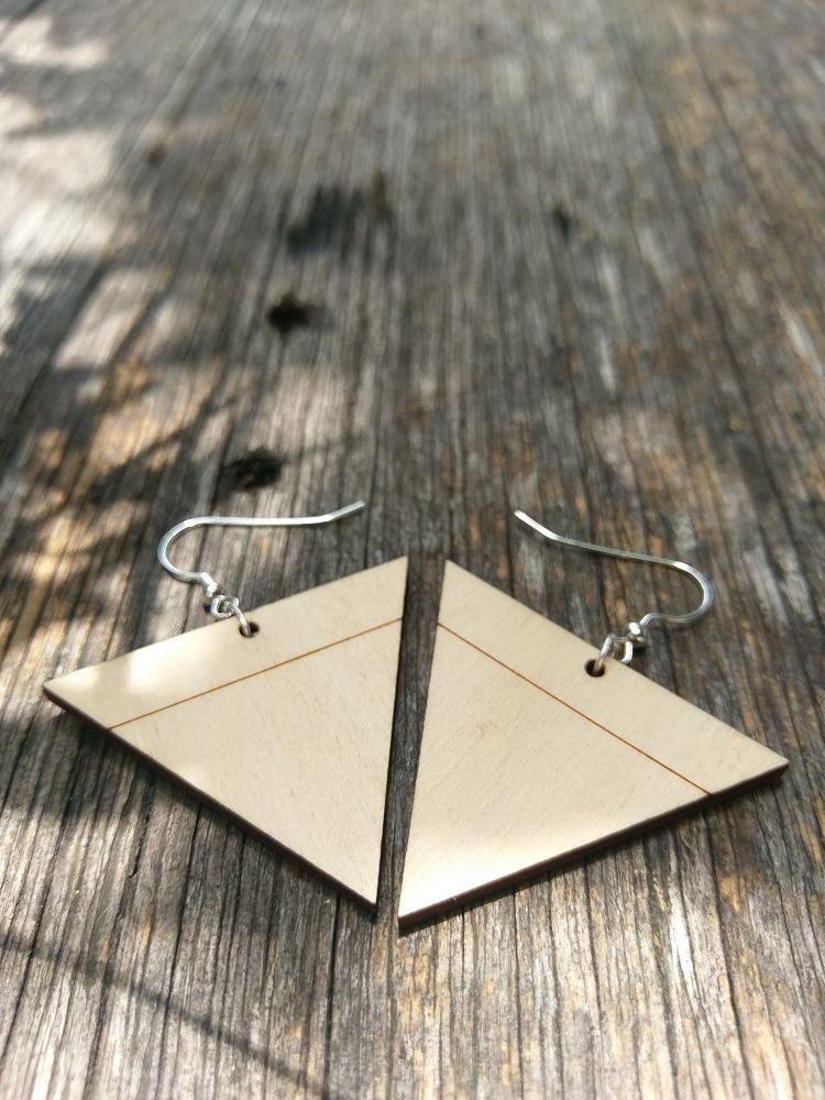 Triangle Lasercut Hoop Pine Plywood Dangle and Drop Earrings